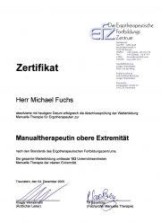 Ergofuchs Handtherapie Praxis Passau - Manualtherapeut Zertifikat